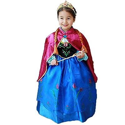 Princess Anna Lace Paisley Chiffon Cosplay Costume Play Long Dress for Girls Kids