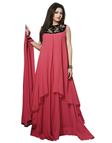 Go Traditional Women\'s Red Cotton Unstitched Gown Dress Material ...