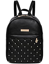 Rrimin New Fashion Women PU Leather Backpack Casual Bead Travel School Backpack