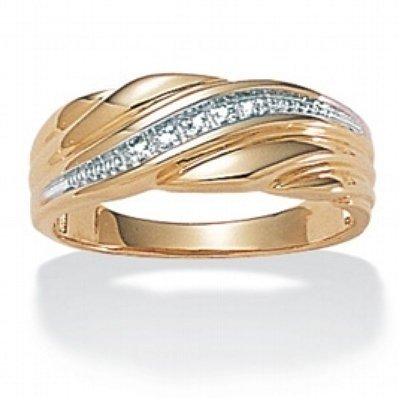 ParisJewelry 1/2 Carat Genuine Diamond 18k Gold Men Wedding Band