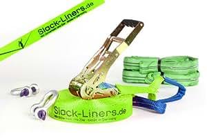 6 Teiliges Neon Slackline-Set LEUCHTGRÜN - 50mm breit, 25m lang - mit Langhebelratsche