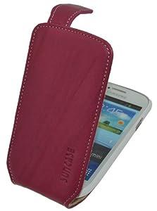 Samsung Galaxy S3 mini (i8190) (GT-i8200 Value Edition) / Flip-Style Ledertasche Tasche *ECHT LEDER* Handytasche Case Etui Hülle (Original Suncase®) wash-pink
