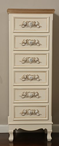 """Oliver and Smith - New London Collection - Antique Eggshell Wooden Narrow 6 Drawer Chest - Made in USA - Medium Sized - 16"""" W x 12"""" D x 45"""" H - 6007"""