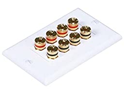 Monoprice 103326 Banana Binding Post Two-Piece Inset Coupler Wall Plate for 4 Speakers (3 Pack)