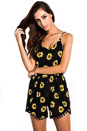 Sunflower Print Black Pom Pom Womens Summer Romper Jumpsuit (L)