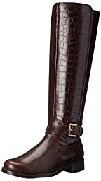 Aerosoles Women\'s with Pride Riding Boot,Brown Crocodile,9 M US