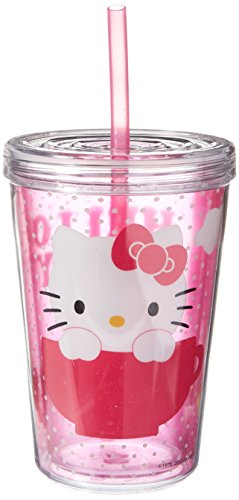 Zak 13 OZ Double-Wall Tumbler Cup with Straw - Hello Kitty (Straw Insulation Cup compare prices)