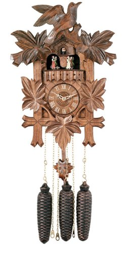 River City Clocks MD841-16 Eight Day Musical Cuckoo Clock with Dancers, Five Hand-Carved Birds And Maple Leaves, 16-Inch Tall
