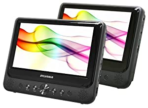 Sylvania SDVD9805 9-Inch Twin, Dual Screen DVD Player, play the same or different movies, plus Built-In USB/SD Card Reader