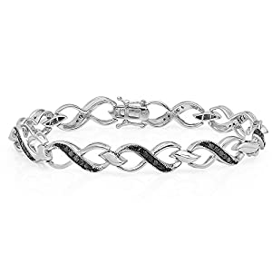 1.00 Carat (ctw) Sterling Silver Round Black Diamond Ladies Infinity Heart Tennis Link Bracelet 1 CT