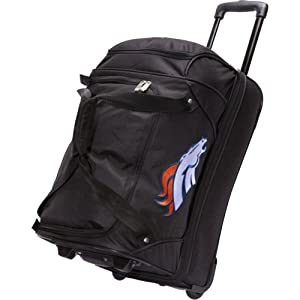 NFL Denco 22-Inch Drop Bottom Rolling Duffel Luggage, Black by Denco
