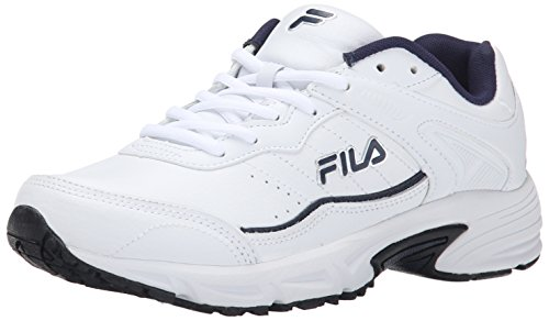 Fila Men's Memory Sportland Running Shoe, White/Fila Navy/Metallic Silver, 10.5 M US