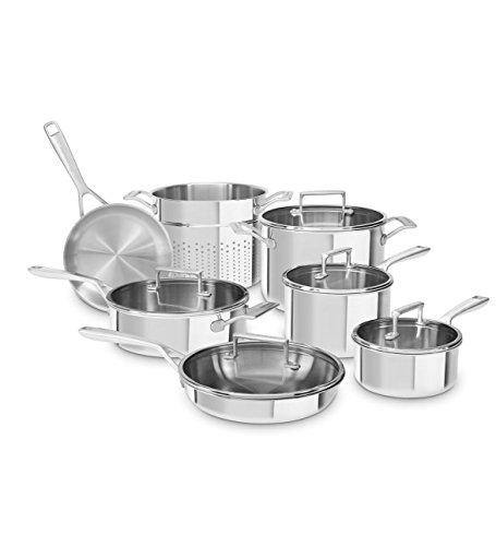 KitchenAid Tri-Ply Stainless Steel 12-Piece Set, Stainless Steel Finish (Kitchenaid Triply compare prices)