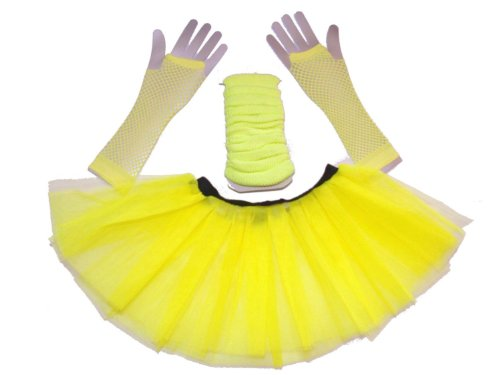 Neon Yellow 3 Layer Tutu Set, Leg Warmer & Fishnet Gloves Size 8 To 14