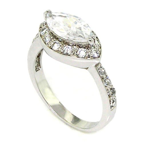 Sterling Silver Classic Engagement Ring w/Brilliant Marquise White CZ Size 8