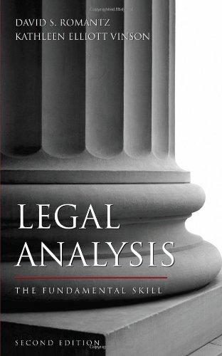 Free Download Legal Analysis The Fundamental Skill By David S Romantz Kathleen Elliott Vinson Fergus Cliffgd