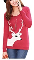 CHRISTMAS Sweater / Cardigan, with Various Lovely Patterns of Reindeer / Snowman / Snowflakes / Tree (M, Reindeer-Red)