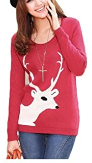 CHRISTMAS Sweater / Cardigan, with Various Lovely Patterns of Reindeer / Snowman / Snowflakes / Tree (L, Reindeer-Red)
