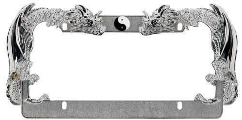 Cheap License Plate Frame Chrome Ying Yang Dragons