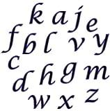 FMM Lower Case Script Alphabet Tappit Cutters Set