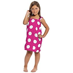 Terry Cotton Girls Cover Up, Made in USA Hot Pink, Small
