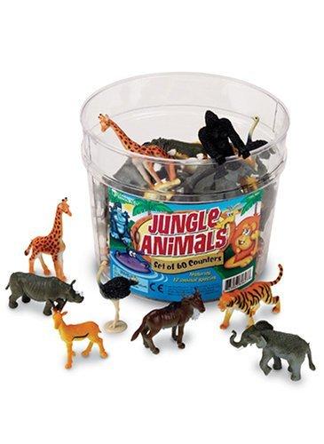 ジャングルアニマル 動物のフィギュア 60ピースセット Jungle Animals [並行輸入品]