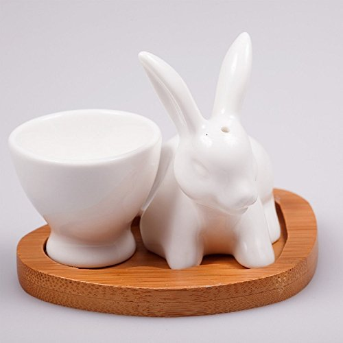 White Egg Cup with Bunny Salt Shaker on Bamboo Base