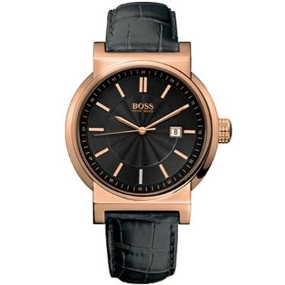 Hugo Boss Men's Gold Plated Case Watch with Black Croco Leather Strap, Black Dial and Date Display 1512337
