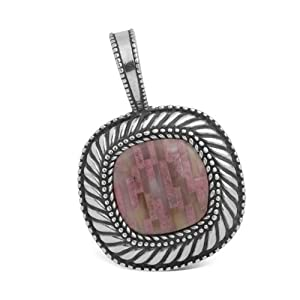 Southwest Spirit Sterling Silver Rhodonite Geometric Inlay Bliss Pendant Enhancer