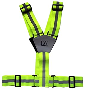 LW Yellow Reflective Running Vest belt sash Harness Band Jogging Walking Biking Cycling Safety