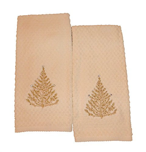 Croscill Hand Towels: Croscill Gold Holiday Tree With Crystals Embroidered