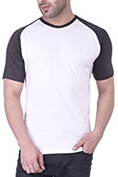 Upbeat Men's White Raglan Sleeve Round Neck Cotton T-Shirt for Men- S