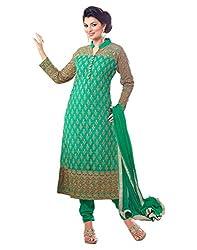 Surat Tex Women's Net Semi-Stitched Dress Material (H991DL2054_Green)