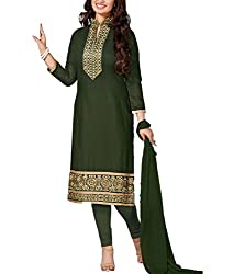 Tanmay Fashions Women's Cotton Unstitched Dress Material(Green_Free Size)