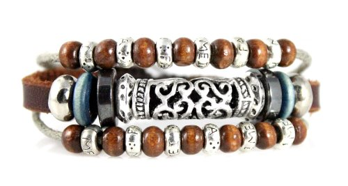 Exotic Beaded Leather Zen Bracelet - Adjustable, Fits 5.5 to 9 Inches, for Men, Women, Teens, Boys and Girls (Foil Gift Box)
