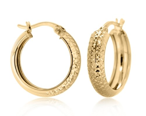 9ct Yellow Gold 19mm Diamond Cut Creole Earrings