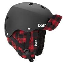 Bern Macon EPS Matte Helmet with Buffalo Plaid Hunter Knit (White, Medium/Large)