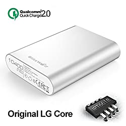Qualcomm Quick Charge Power Bank, BlitzWolf 10400mAh QC 2.0 Phone Portable Battery Backup 5V 9V 12V Input/Output for Samsung Galaxy S5 S6 Edge S7, Note 4 5 Edge, HTC, Sony Xperia