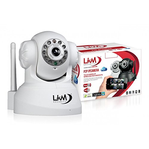LKM Security IPCIN01 IP Netzwerkkamera Kamera IP (640 x 480 Pixel, WiFi, 300 MBit/S, IR-LED, bis 8m Nachtmodus) für Mac/Win/Linux/Android/Apple iPhone weiß