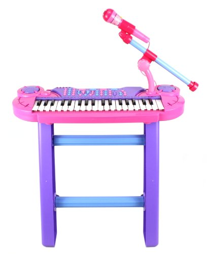 Mini Musician Deluxe Childrens 37 Keys Toy Piano Keyboard Set W/ Microphone & Chair (Pink) Records & Plays Back Your Little Ones Music
