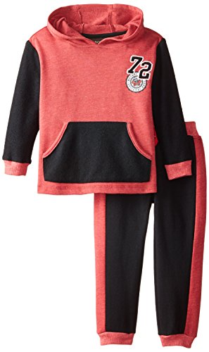 BoyzWear Little Boys' 2 Piece Kangaroo Pocketed French Terry Set, Red, 4T