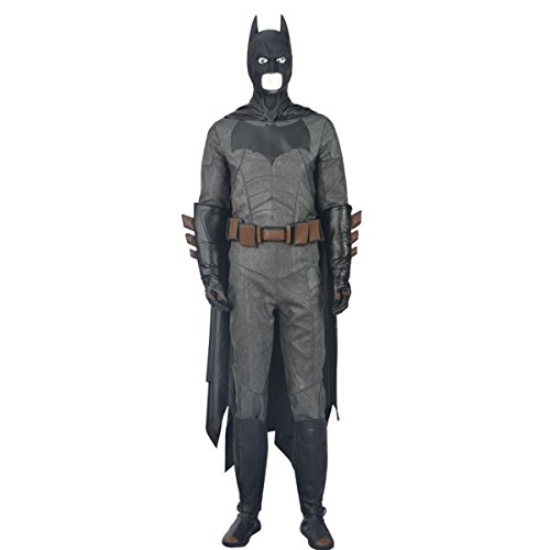 [HZYM Men's Batman v Superman Cosplay Batman Costume Deluxe Outfit (XL)] (Adult Black Suit Superman Costumes)
