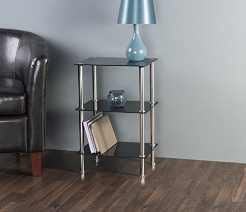 avf s33 a small 3 tier shelving unit in black glass. Black Bedroom Furniture Sets. Home Design Ideas