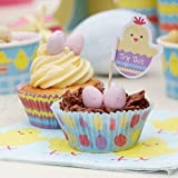 Easter Chick Cupcake Bun Cases (100) & Food Pick Decorations (10) - great for any Easter Celebration
