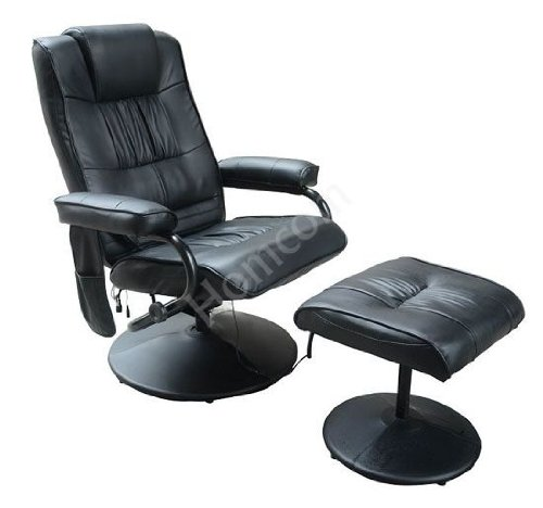 Luxury Recliner Massage Chair with Ottoman - Black