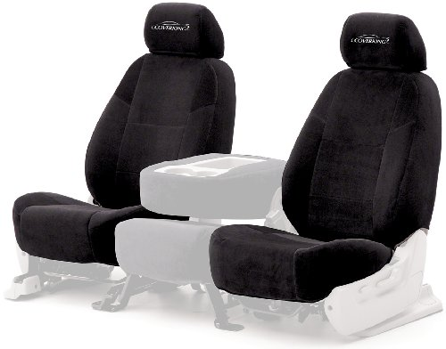 Coverking Custom Fit Front 50/50 High Back Bucket Seat Cover For Select Mazda Mx-5 Miata Models - Velour (Black) front-1063086