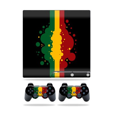 Protective Vinyl Skin Decal Cover for Sony Playstation 3 PS3 Slim Skins + 2 Controller Skins Sticker Rasta Flag