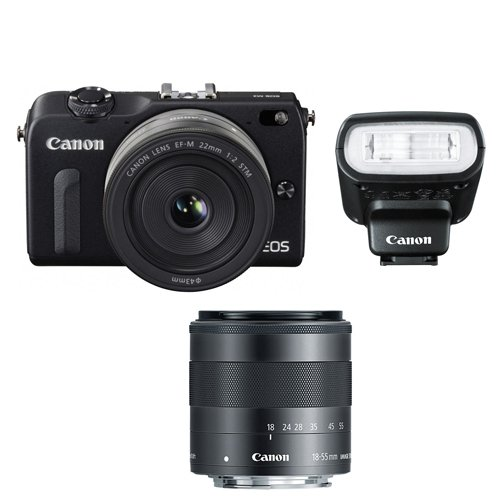 Canon-EOS-M2-Camera-w-EF-M-22MM-f2-18-55MM-F35-56-IS-STM-Lens-90EX-Flash-White-International-Version-No-Warranty