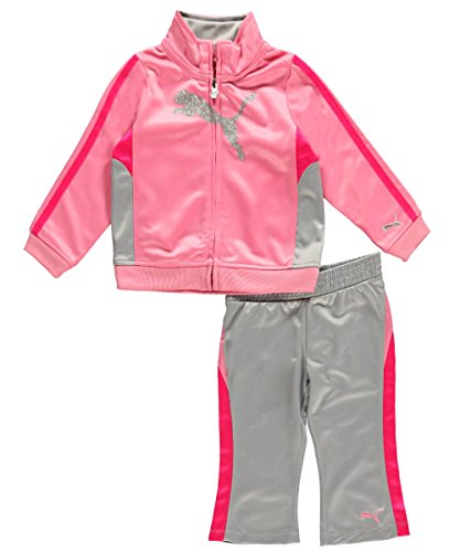 Puma - Kids Baby Girls Infant Tricot Colorblock Set, Pink Glow, 12 Months front-1016738