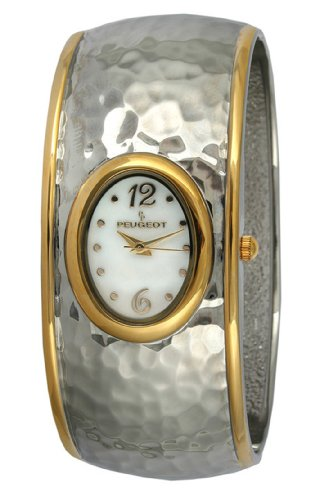 Peugeot Women's 7051TT Two-Tone Hammered Bangle Watch
